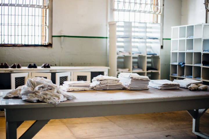 table with prison uniforms, alcatraz island