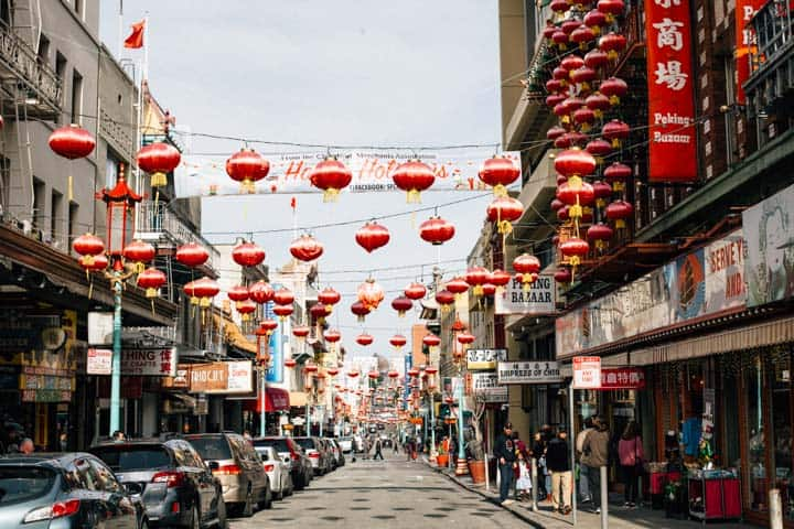 lantern lined street in chinatown