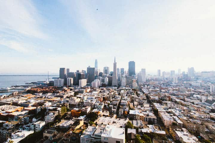 view of transamerica pyramid building from coit tower