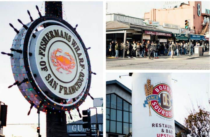 fisherman's wharf sign, boudin stack, and street corner of food stalls