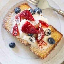red, white, and blue skillet pound cake dessert