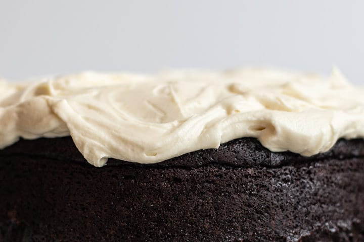 close up of guinness beer dark chocolate cake with cream cheese frosting