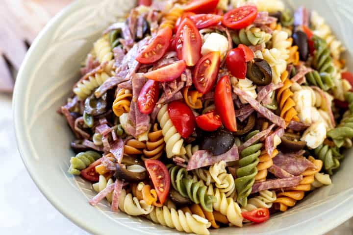 Easy italian pesto pasta salad in a large bowl