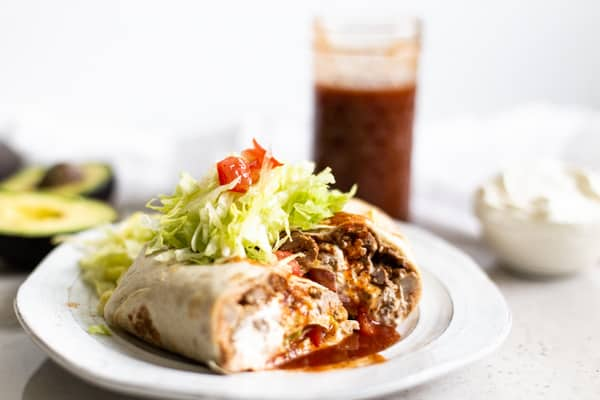 burrito smothered in taco sauce