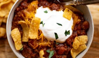 Nothing says comfort like a piping hot bowl of chili on a cool fall day! This version is made with ground beef, and is similar to the chili kits you can buy in the grocery store. This is an all time family favorite and a tradition on Halloween and Super Bowl Sunday!