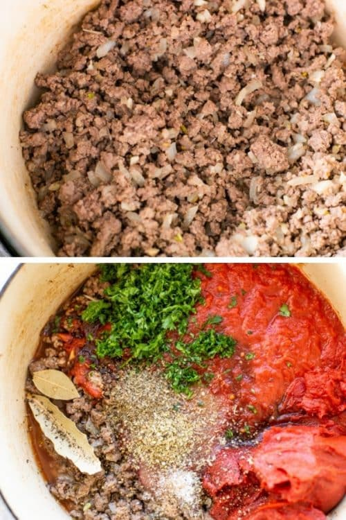 slow cooker meat sauce in pot
