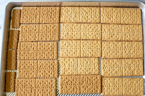 graham crackers on a cookie sheet