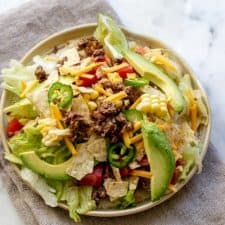 Easy Taco Salad Recipe on a kitchen towel