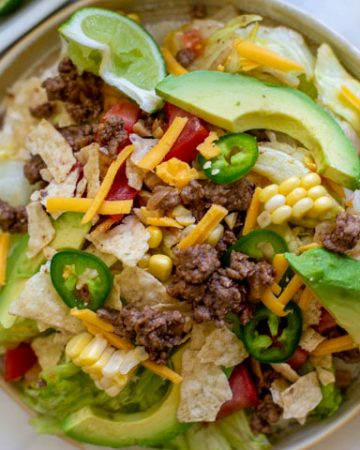 Easy Taco Salad Recipe on a plate