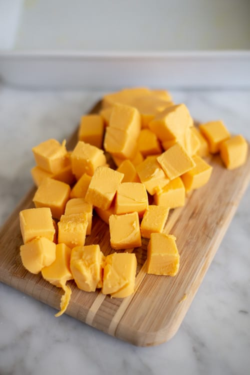 Cubed Veveeta for Homemade Baked Mac and Cheese