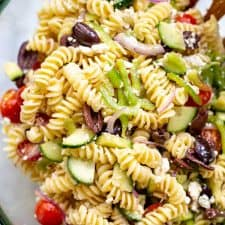 greek pasta salad in a bowl