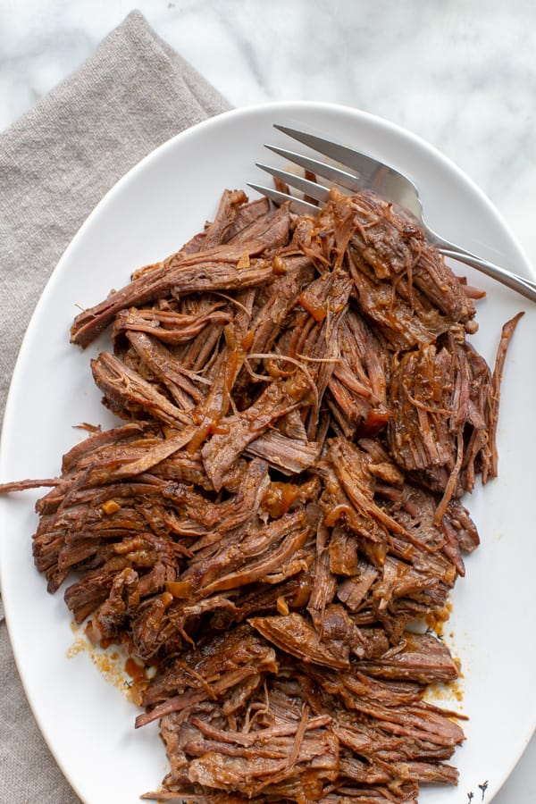 instant pot brisket on a white plate