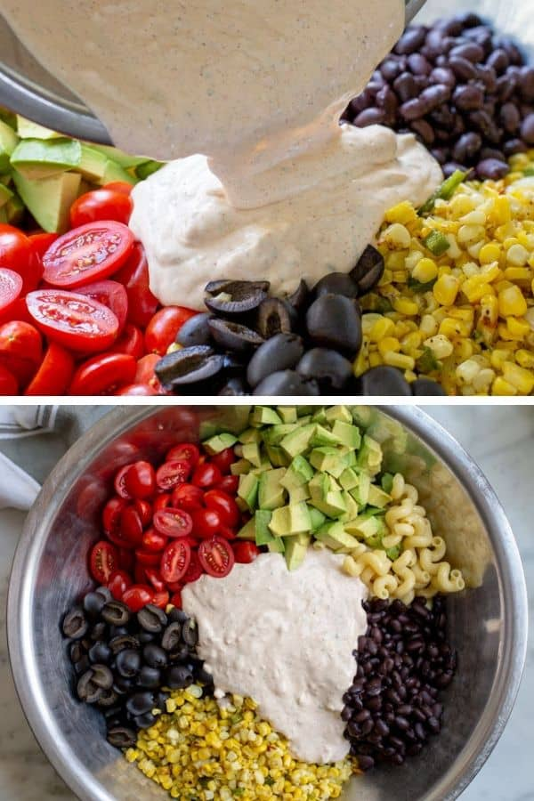 Pouring creamy dressing over mexican pasta salad ingredients.