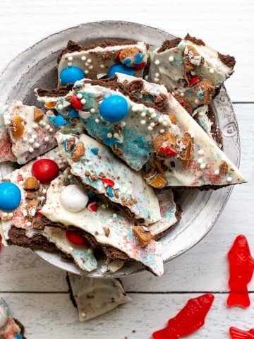 a bowl with candy bark