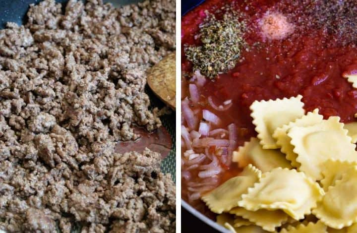 cook ground beef and ravioli in a marinara sauce