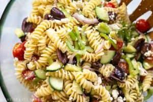 large bowl of greek pasta salad