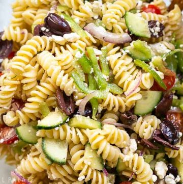 large bowl of greek pasta salad
