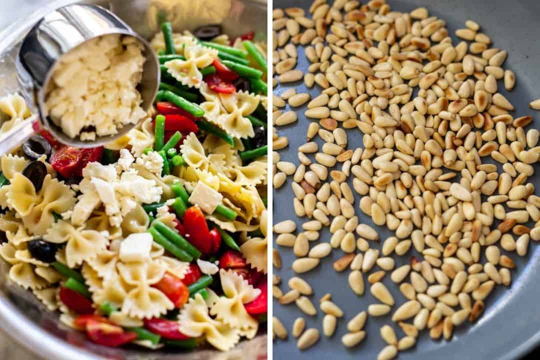 a collage showing italian dressing pasta salad with feta cheese and pinenuts being toasted