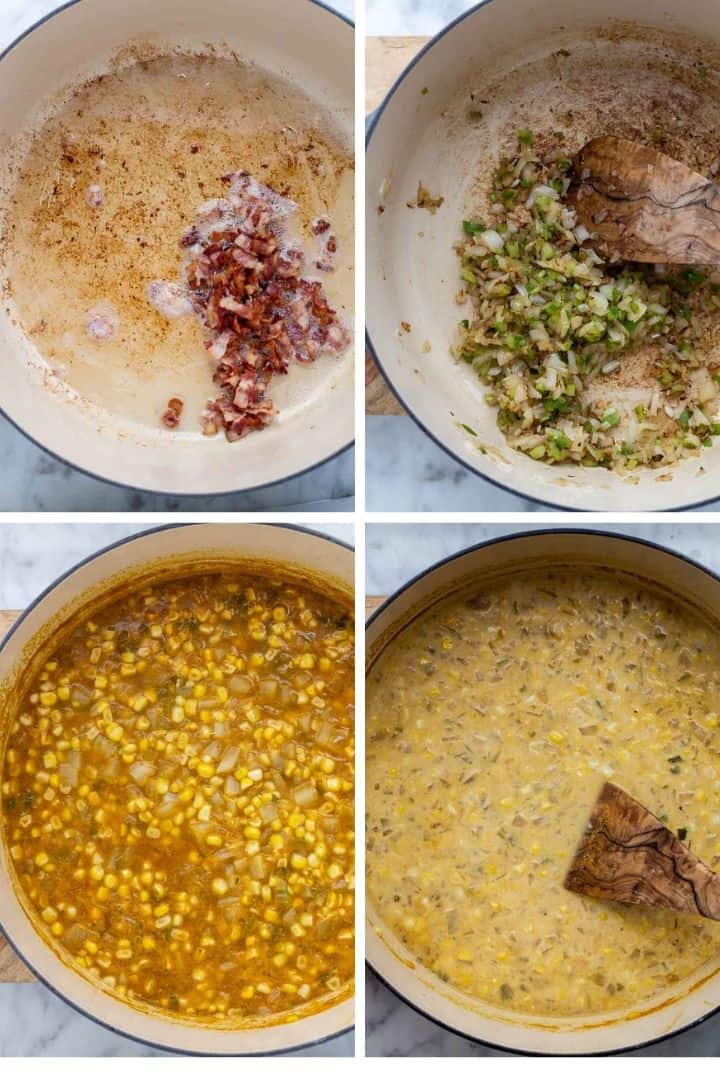 collage of the steps to make jalepeño corn chowder soup recipe