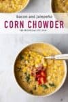 corn chowder in a white bowl with text overlay