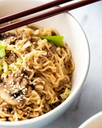 bowl of ramen noodles with ground beef