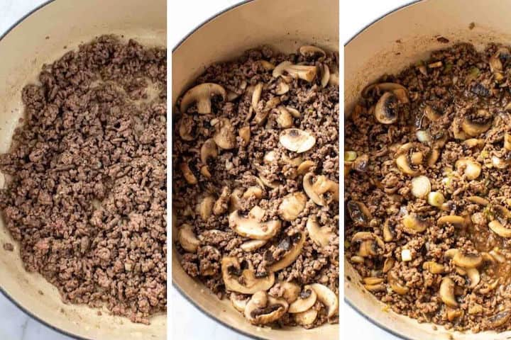 cooking ground beef with mushrooms and stir fry sauce