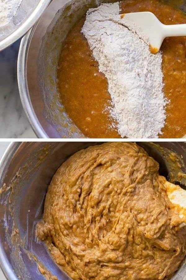 two photo collage of flour being mixed into batter