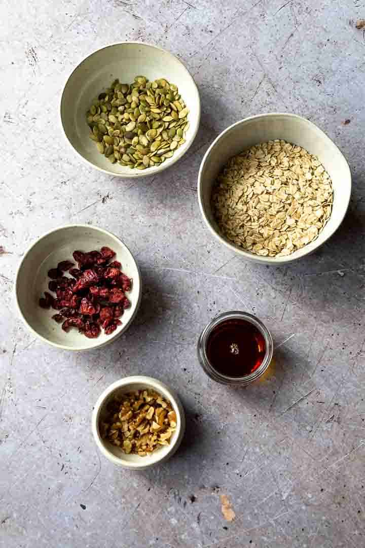 ingredients to make homemade granola recipe