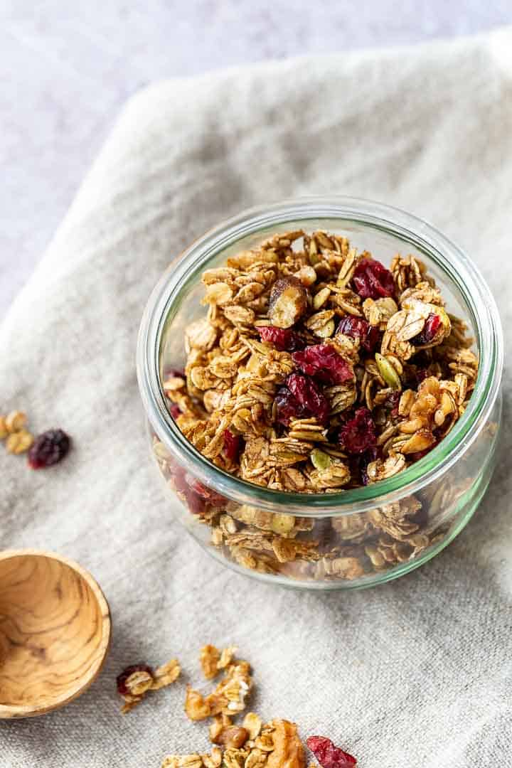 homemade granola recipe in a glass bowl