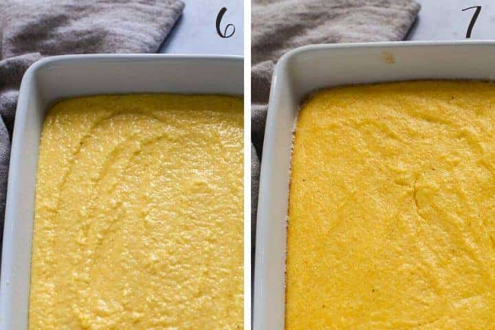 2 photo collage of grits in a casserole dish before and after being baked