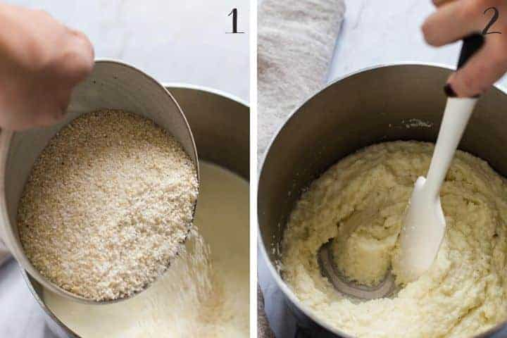 2 photo collage of adding grits to liquid ingredients and stirring in a stainless steel pan