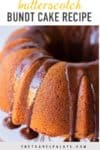 close up of bundt cake with text overlay