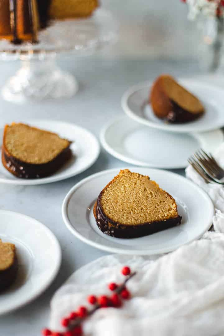 slices of bundt cake on white plates