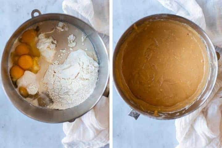 collage of bundt cake ingredients before and after being mixed