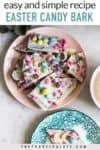 easter bark on a pink plate with text overlay