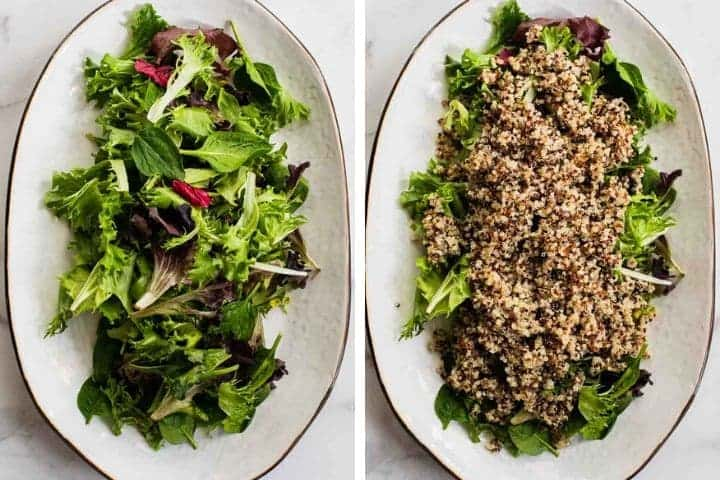 mixed greens on a white platter and with quinoa collage