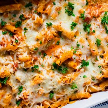 Baked ziti just out of the oven