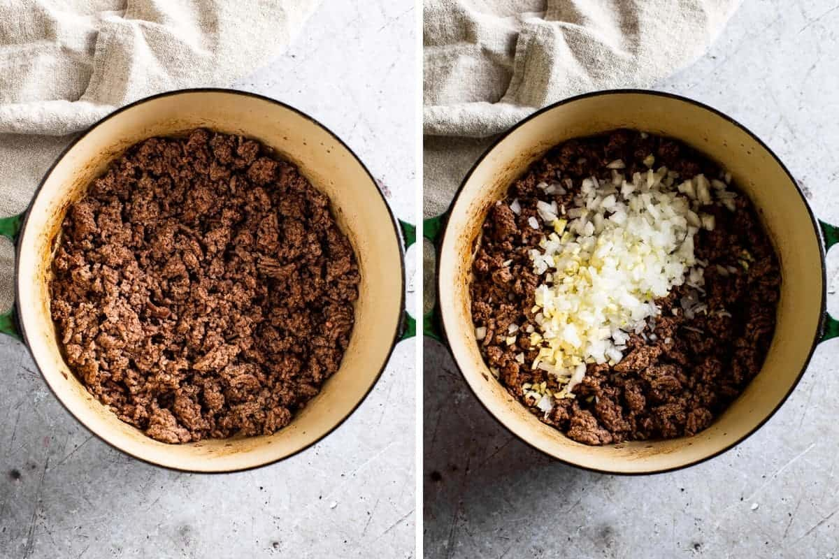 two photo collage of cooked ground beef and onions