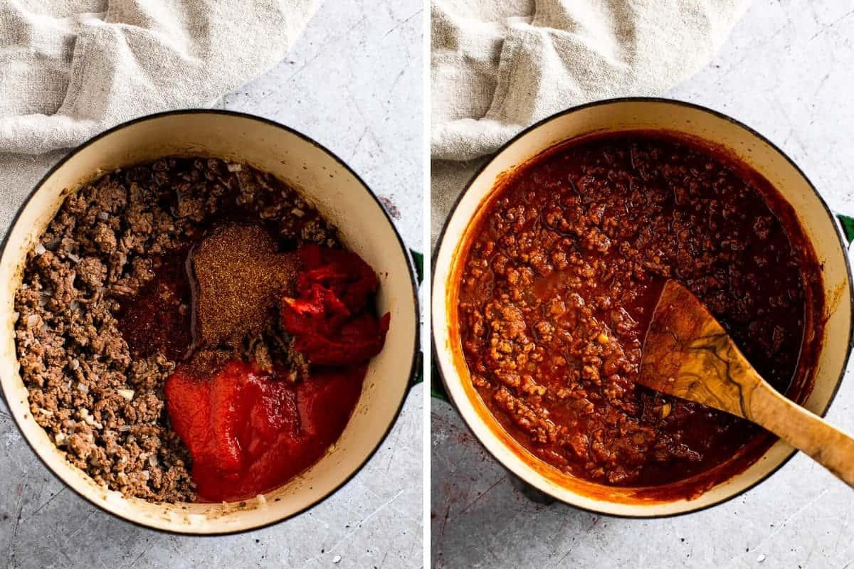 two photo collage ingredients going into a pot to make chili