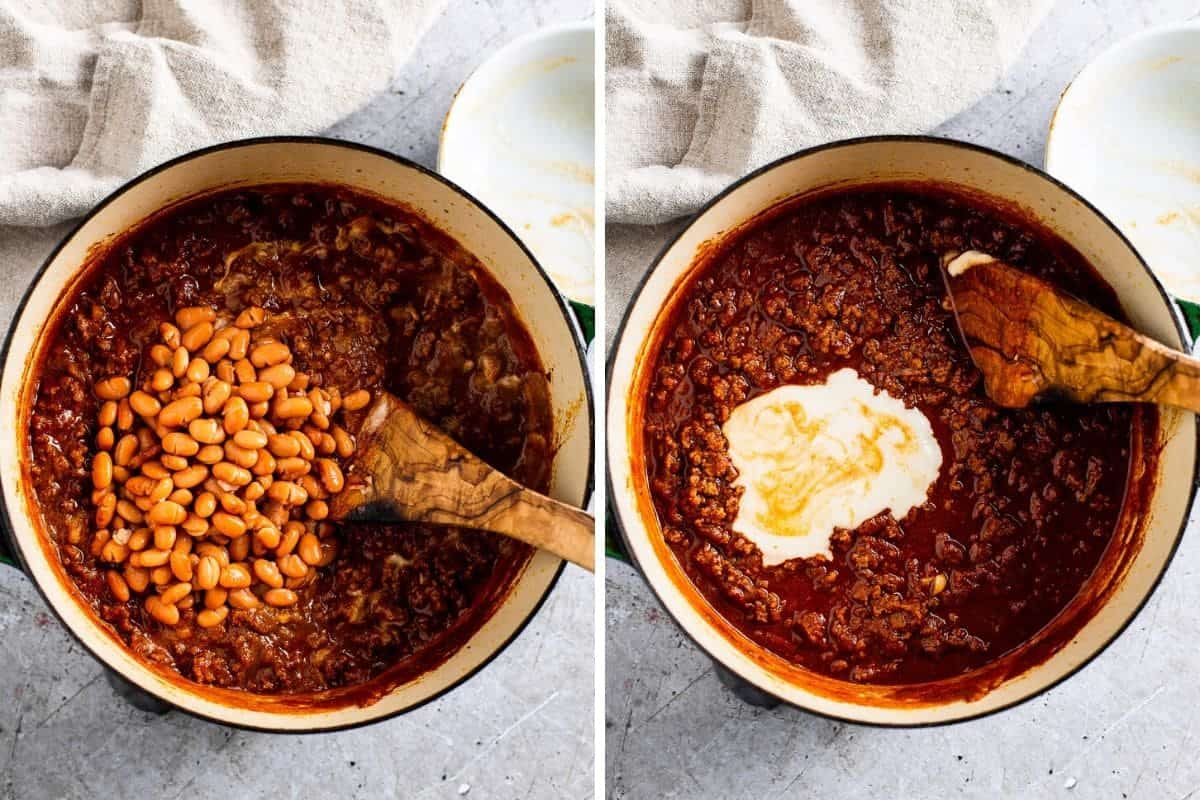 two photo collage of pinto beans and masa being added to a pot of chili