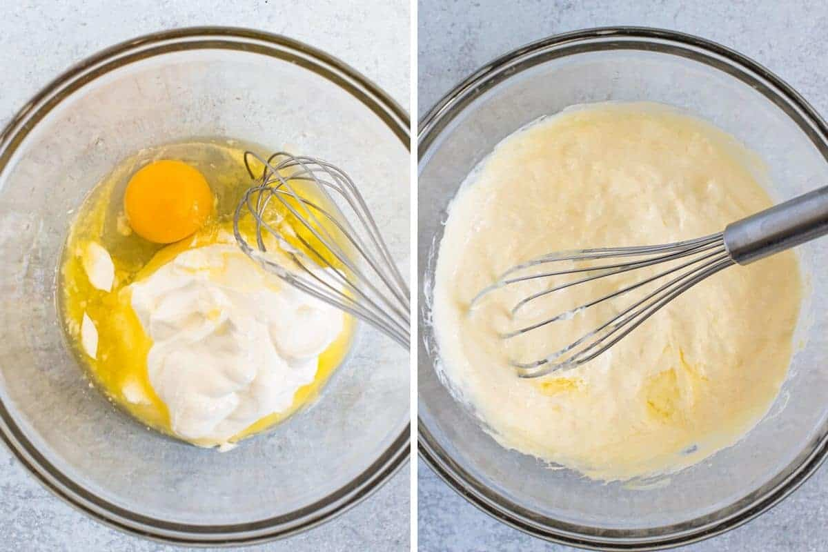 photo collage off egg, butter and sour cream mixed