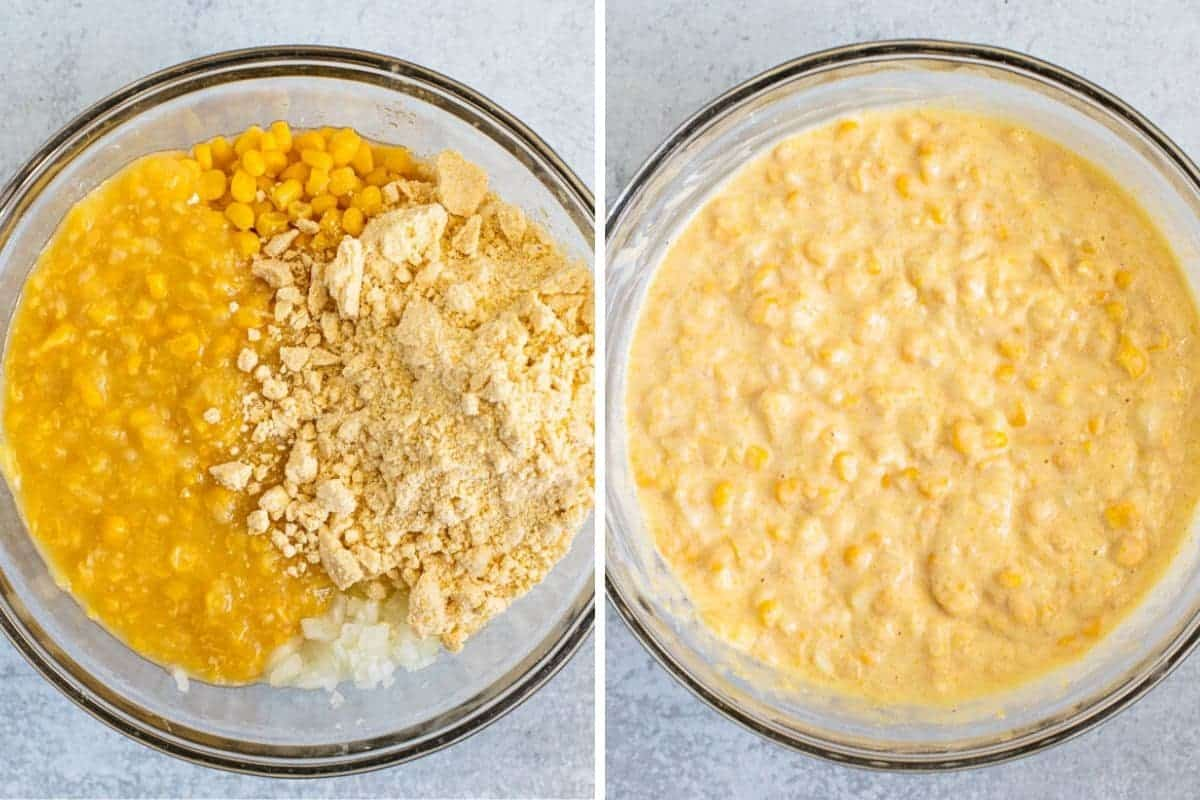 collage of canned corn and cornbread mix being blended together