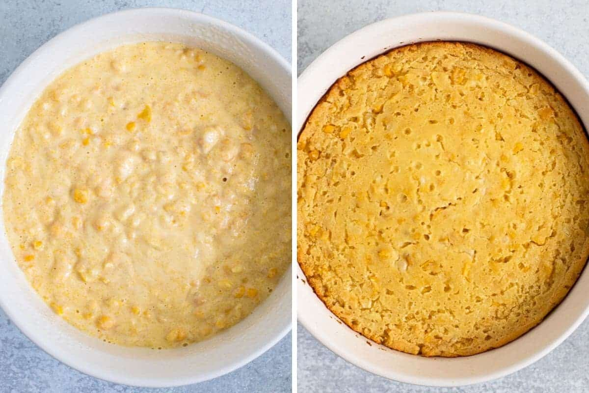 collage of casserole before and after baking