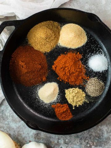 spices in a cast iron skillet