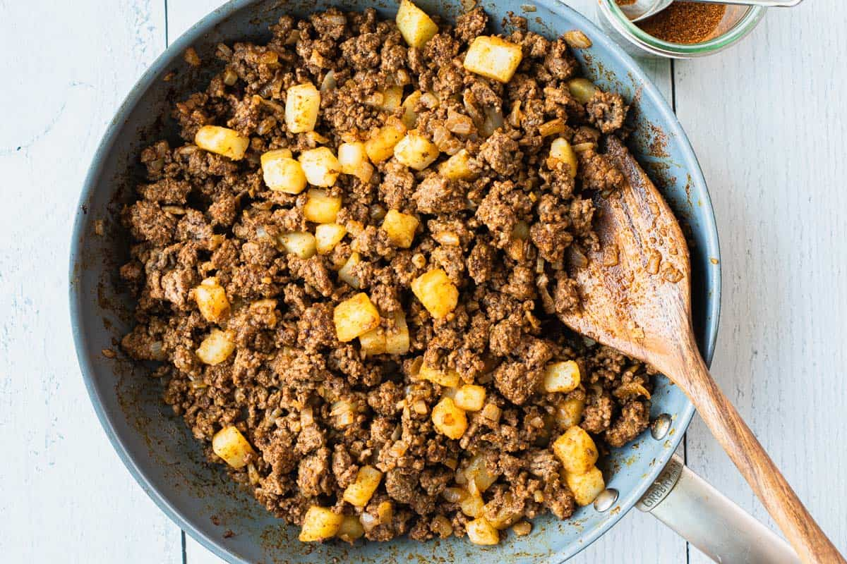 cooked taco meat in a skillet