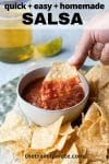 hand dipping a chip into a bowl of salsa with beer and lime in background and text overlay