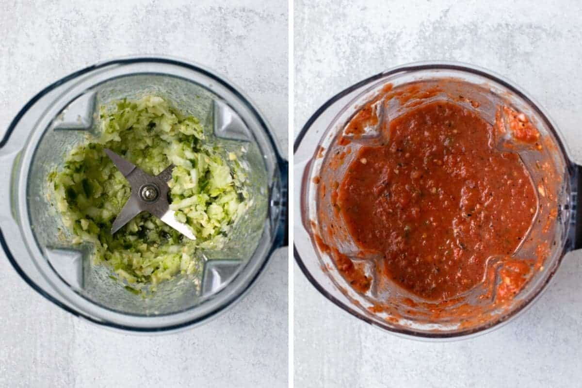 two photo collage-salsa ingredients being blended in a blender