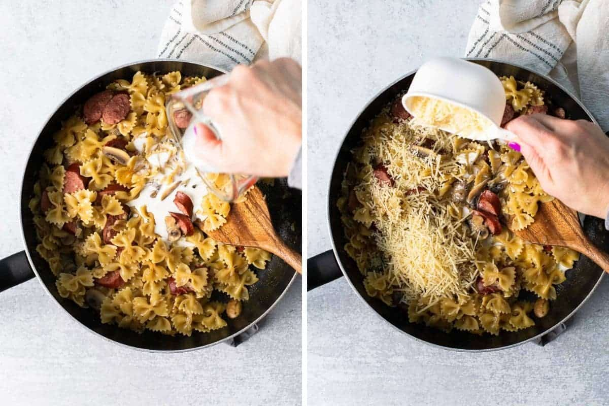 photo collage of cream and parmesan being added to skillet