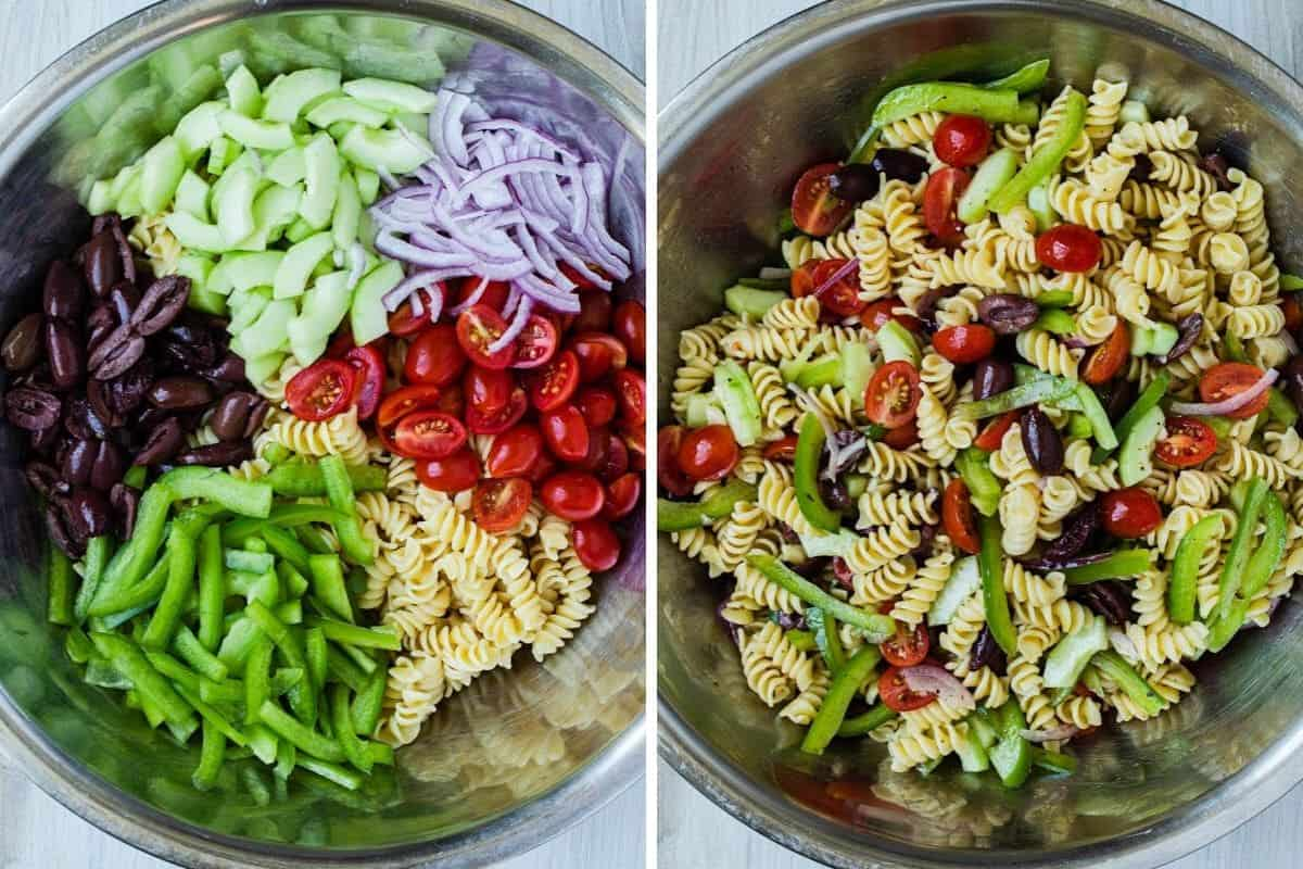 two photo collage of prepared salad ingredients in a large stainless steel bowl