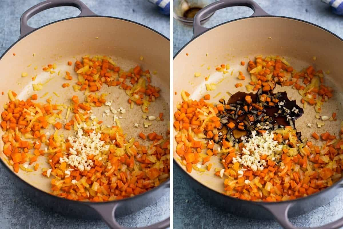 2 photo collage with carrots onions being cooked and adding balsamic vinegar